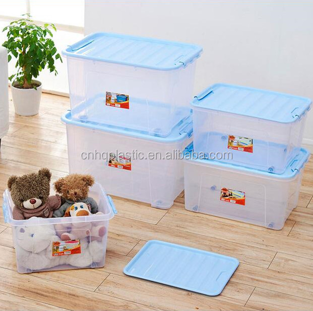 55L stackable plastic container wall mounted plastic storage box with lid cover