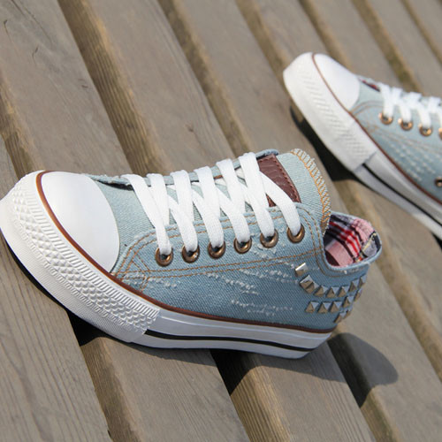 S1040 all matching low shoes european rubber sole blue back rivets canvas shoes