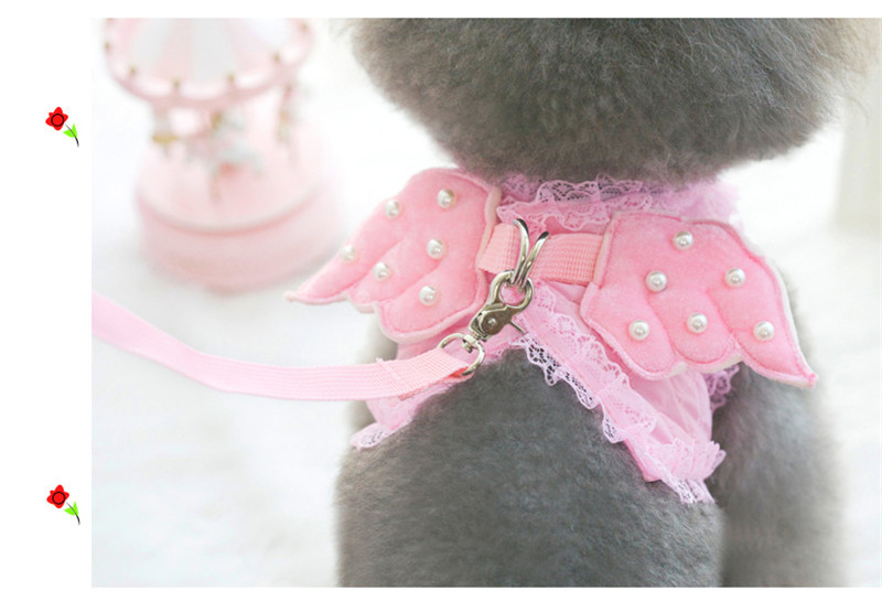 Cute Pet Dog Clothes With Leash Angle Harness Cat leads Puppy Rhinestone for small dogs Clothes and leash XS-L