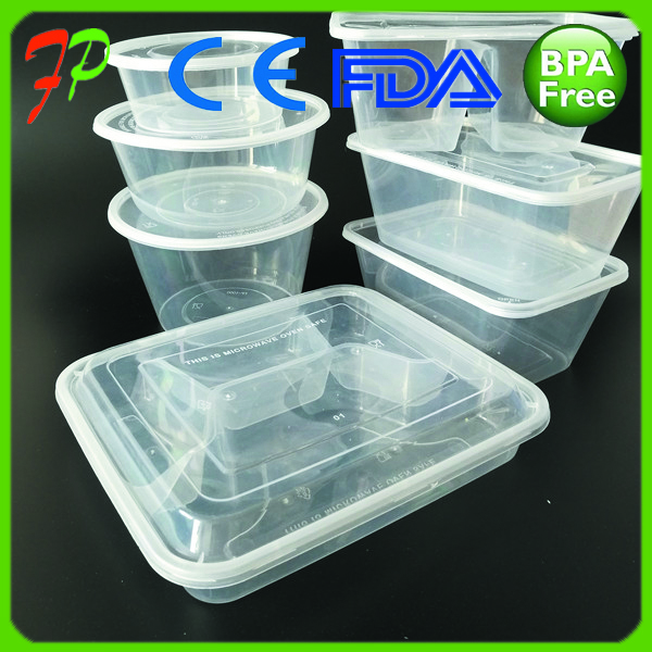 Disposable plastic take away food packing box