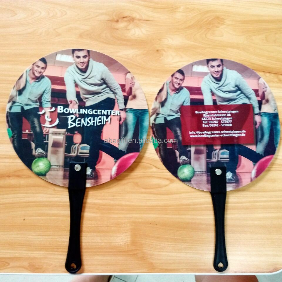 plastic hand fan with printed logo