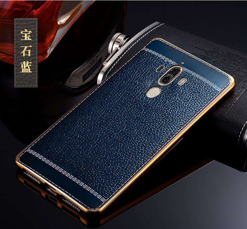 For Mate 9 Hard Case Leather Coated Cover Electroplated Bumper Back Case for Huawei Mate 9
