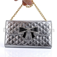 Bright Grid Pattern Handbag Wallet Design Rhinestone Bowknot Buckle Magnetic Flip Leather Case for Samsung Galaxy S4 I9500