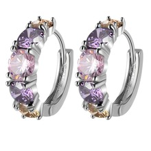 2017 Fashion Jewelry colorful Zircon hoop Earrings Prong Setting Lover Gift