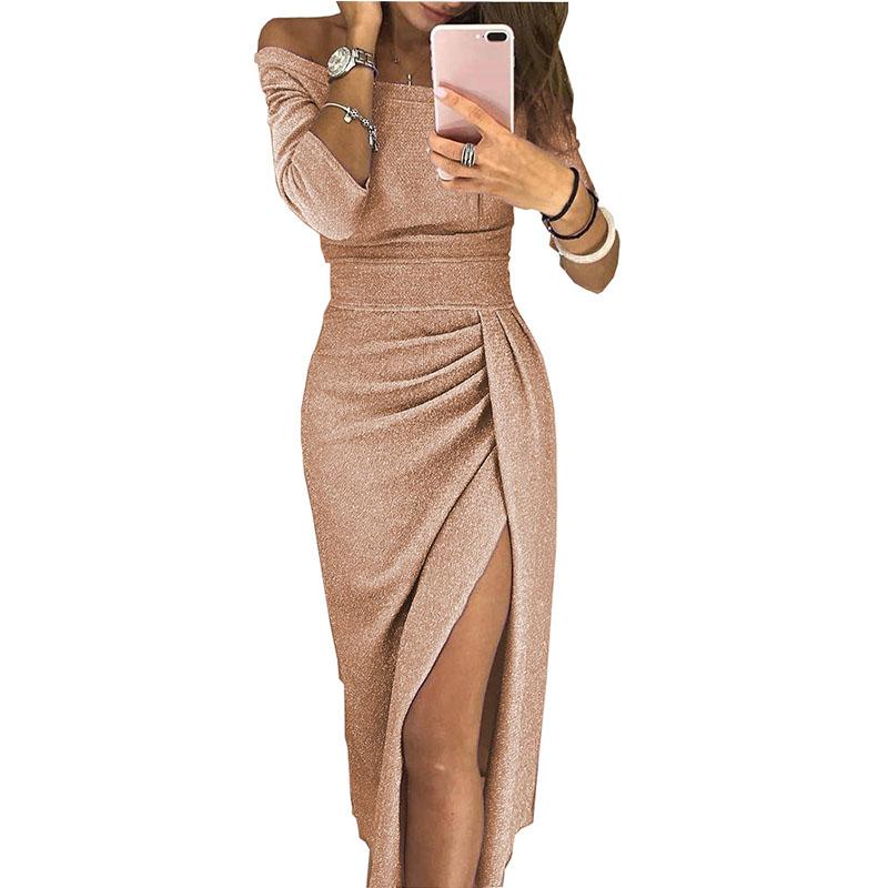 2019 Latest Long Sleeve Individuality Fashion Women Summer Boho Party Rose Golden Sexy Maxi Dress
