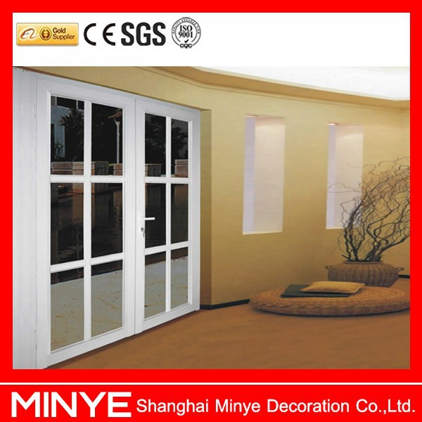 UPVC profile plastic steel door with grid design