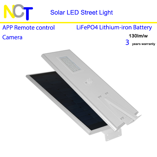 50W solar led street light Lithium battery 36Ah 70W solar panel cellphone remote control 3 years warranty