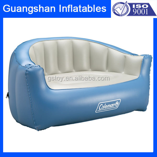 2 person living room inflatable blue plastic chesterfield sofa