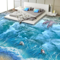 WaterProof Floor Mural Adhesive 3D Floor Covering Vinyl Wallpaper with Epoxyresin