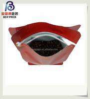 ziplock seal flat bottom plastic coffee bag with valve for beans packaging 250g 500g