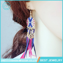 2016 Fashion Feather Tassel Earring Wholesale Colored Drawing Beads Earring