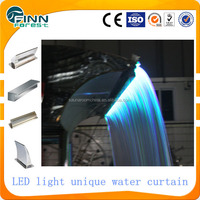 Unique design spa waterfall, LED water curtain outdoor shower for swimming pool and garden
