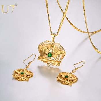 U7 Africa PNG Jewelry Gold Plated Kundu Bird of Paradise Necklaces Set for Women