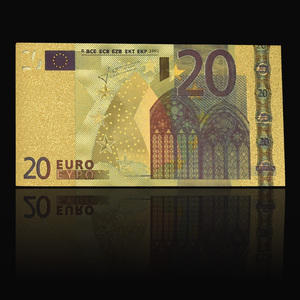 20 Euro 24k Gold Plated Fake Paper Money Colorful banknote