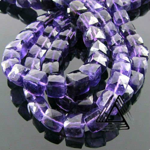 Natural Amethyst Gemstone Beads Briolette Barrel three Strands Wholesale 8mm - 12mm Semi Precious & Precious Beads