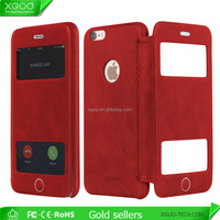 Double window leather case for apple iphone6s