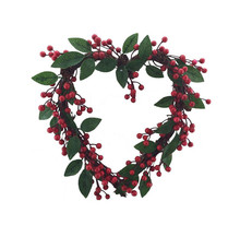 "14"" Vanilla heart shaped christmas wreath"