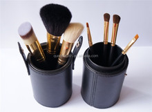 Wholesale Cheap Cosmetic Brushes 7 Pieces Human Hair Makeup Sets with Cylinder Makeup Case