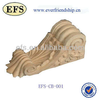 natural unfinished hand carving decorative wooden corbels (EFS-CB-001)