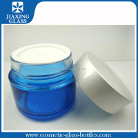 50g 100g Empty Round Blue Cosmetic Glass Jars Container with Aluminum Cap / Skincare Cream Glass Jars/Packaging/Container