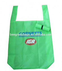 Polyester recycled foldable bag with classic T-shape