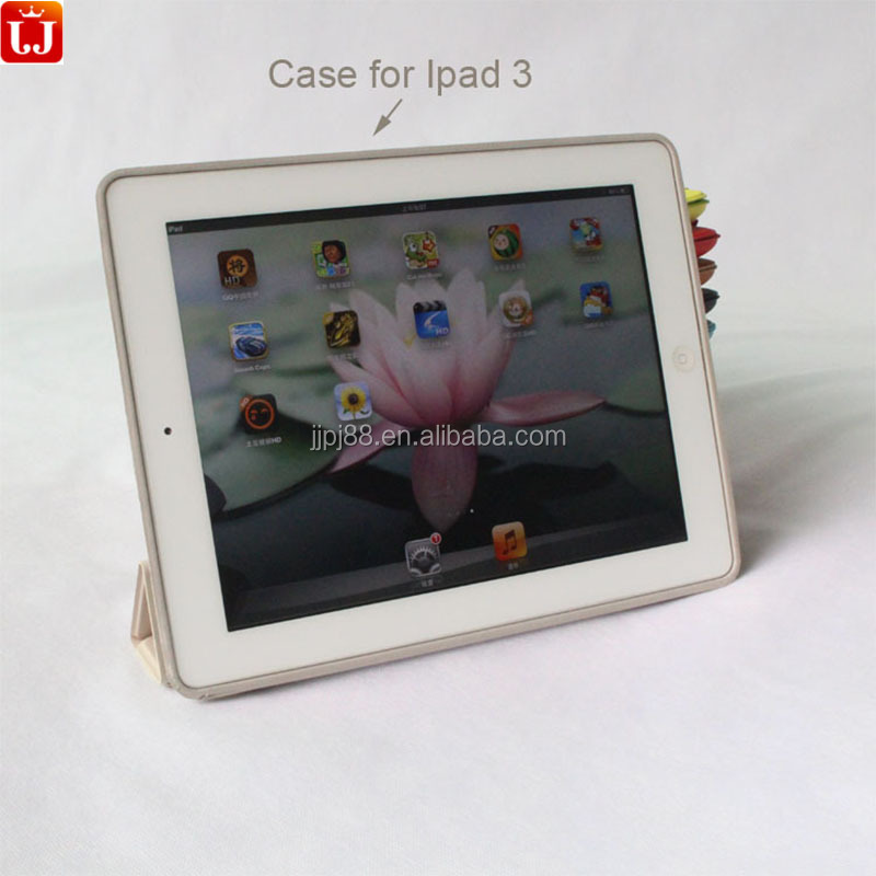 Smart Tablet Case Auto Sleep Wake Slim Smart Leather Protective Tri-fold Case for Ipad 3