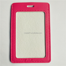 Custom printing cute logo pink PU leather sewing id card case holder