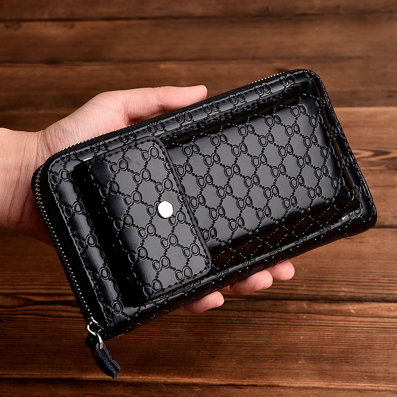 Wholesale large capacity cell phone men zipper wallets High quality PU alligator leather clutch wallet for men