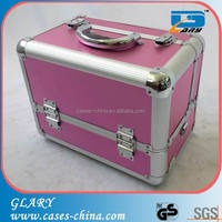 Aluminum and leather cosmetic train brush case for women