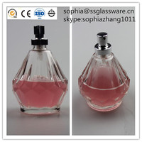 100ml empty clear diamond shape Perfume glass bottle with spray and cap in China