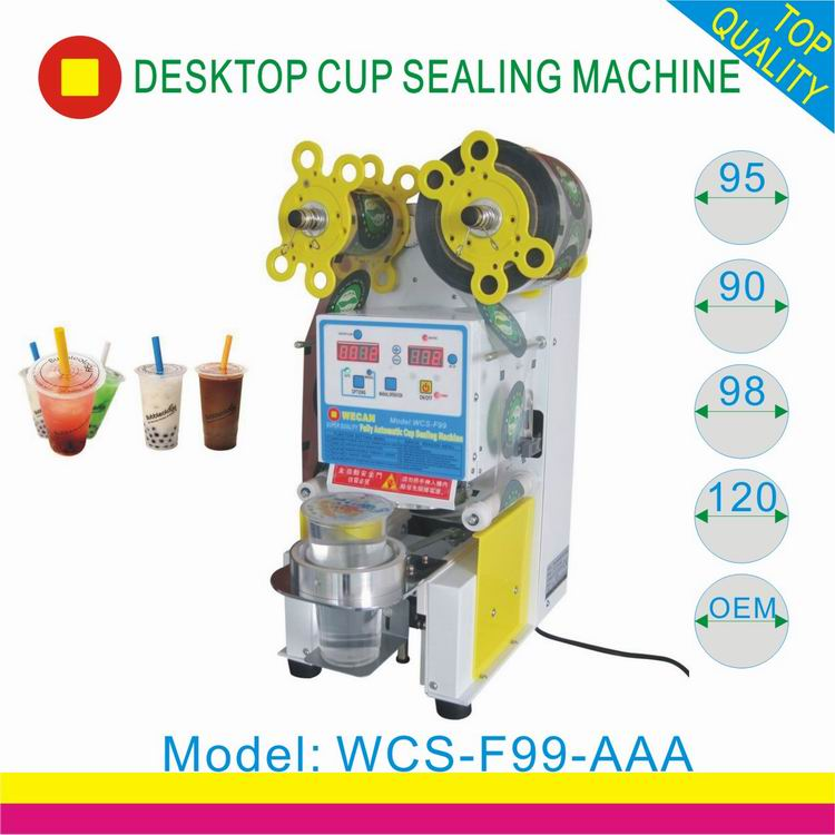 Automatic Boba Plastic Cup Sealing Machine With CE approval/plastic bubble tea cup lids sealer machine