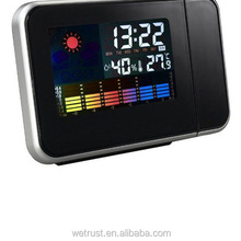 Digital LED Projector Humidity Weather Forecast Display Alarm Clock
