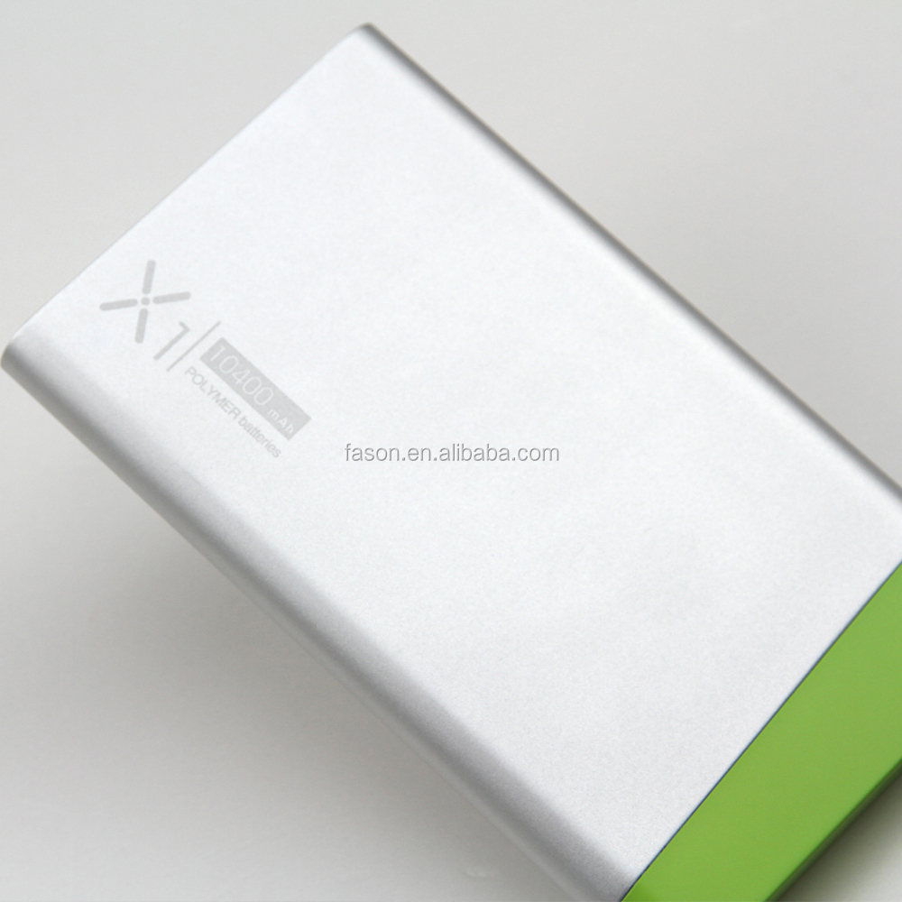 China Power bank 10400mah Lipolymer battery Dual usb High quality Large capacity aluminium Fashion powerbank hot sale