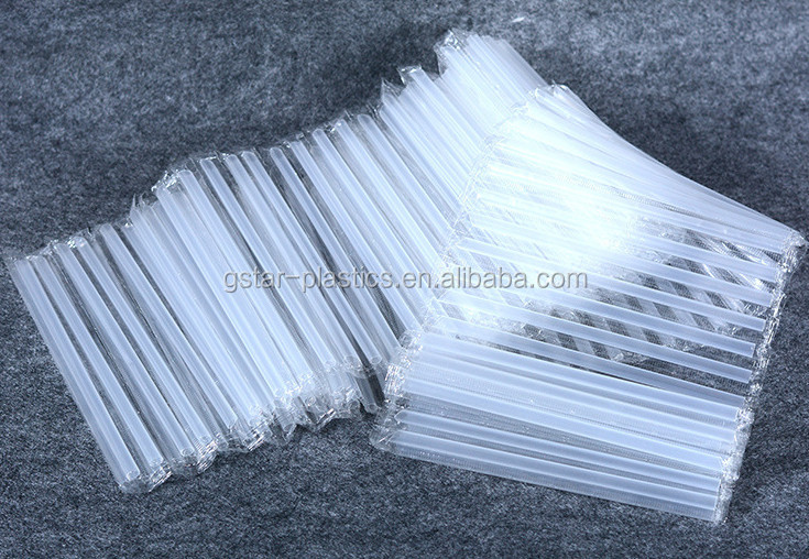 7mmx190mm Clear PP Plastic Soft Drinking Straws Individual Wrapped in a row for Milk and Juice