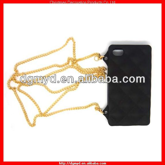 3d handbag shape silicone rubber phone case with metal chain as shoulder handbag (MYD-1000)