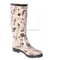 flower print durable knee high rubber boots durable waterproof long gum boots for women