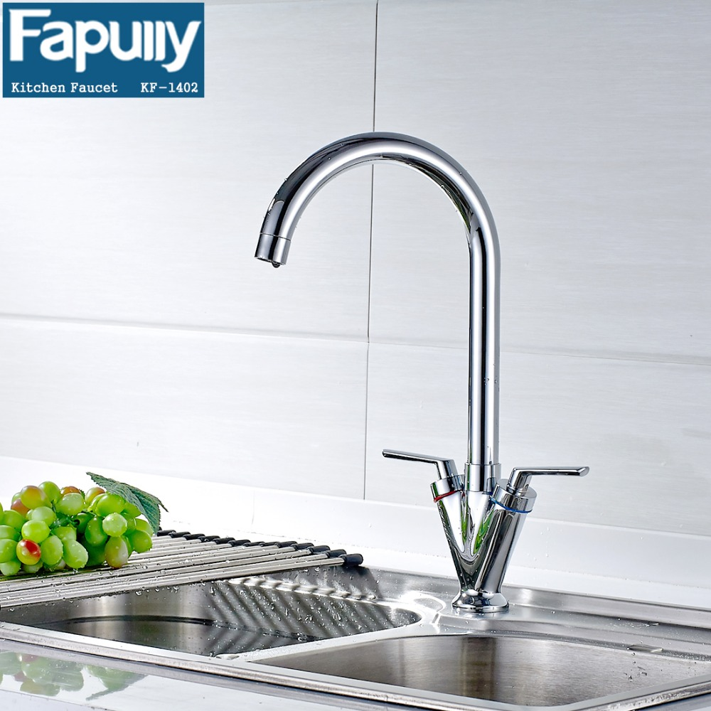 Fapully European Double Handle Kitchen Faucet Spray Head