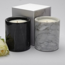 2018 new products stone candle jars marble candle holders