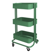 TCT003 3-Tier Rolling Utility Cart Storage <strong>Shelves</strong> with Metal Wheels for Office,Kitchen,Bedroom,Bathroom,etc