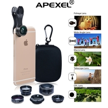 ON SALE!mobile phone accessories 5 in 1 phone lens kit Wide angle/Macro/Fisheye/Zoom/CPL Lens for iPhone Cellphone Camera Gadget