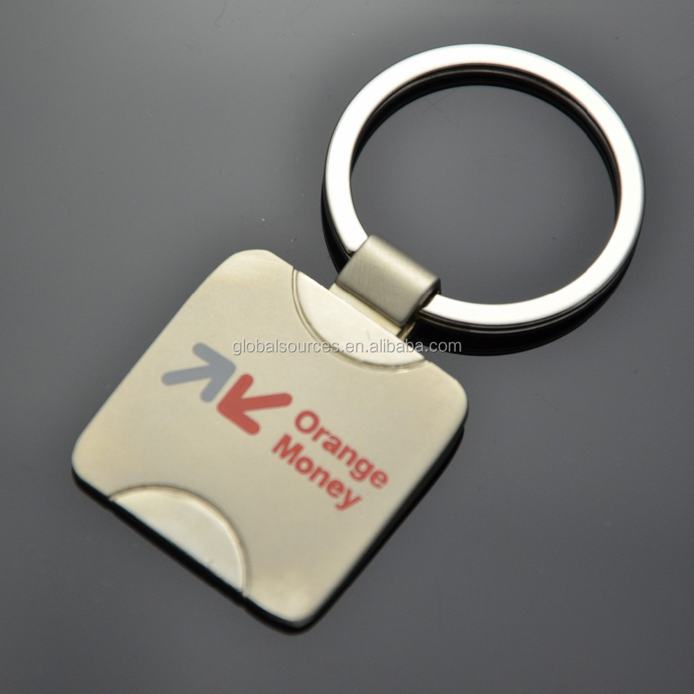 2017 cheapest round metal keyring with epoxy logo