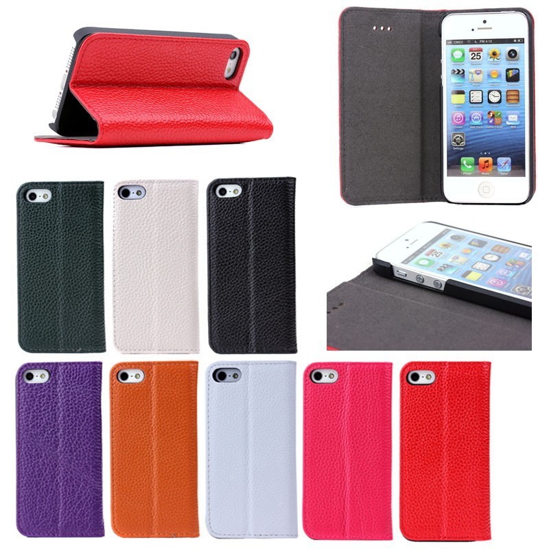Luxury litchi texture book style folio genuine leather case for Apple iPhone 5