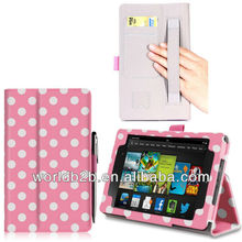 polka dot PU leather stand case cover for new kindle fire HD 7inch, with Elastic band & card slots
