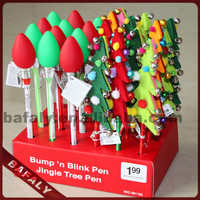 Promotion hot sell new style factory directly christmas bulb ball pen,christmas tree light pen,christmas tree light pen