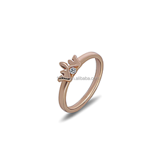 fashion rose gold plated 925 sterling silver crown ring with zircon