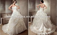 Luxury Ball Gown Chapel Train Strapless Ruffles Falbala Ruched Overlay Corset Closure Wedding Dress Bridal Gown