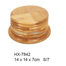 Wholesale round bamboo coaster set wooden cup mat with holder