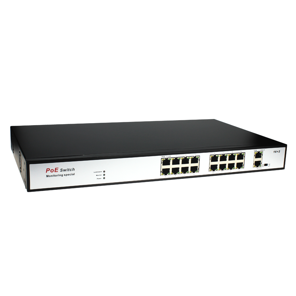 16 Port Gigabit Unmanaged Desktop power over ethernet Switch with Two PoE Ports,16 port fiber switch 24v