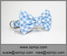 New Arrival Wholesale Blue Plaid Pet Dog Flashing Collar With Bow