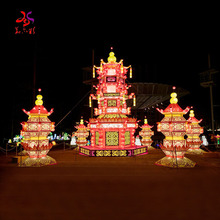 outdoor large 3D LED light palace red antique christmas chinese new year festival decoration garden cloth  tower silk lanterns